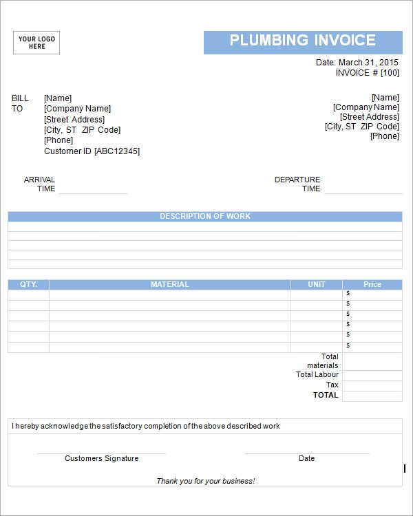 Download Plumbing Invoice Template Rabitahnet - Blank plumbing invoice free online store credit cards guaranteed approval