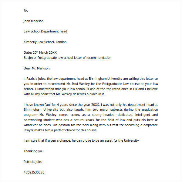 law school letter of recommendation 44 sample letters of recommendation for graduate school 22707 | Postgraduate letter of recommendation