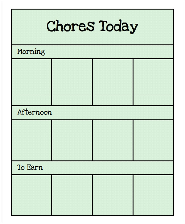 Sample Chore Chart 9 Documents in Word Excel PDF – Chore Chart Template Word