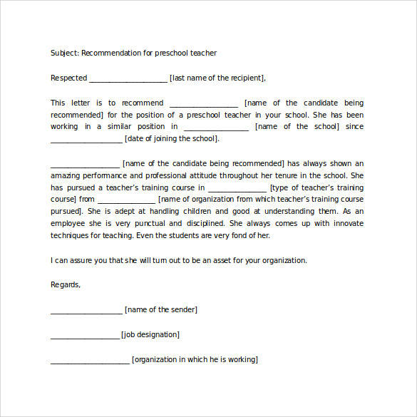 35 letters of recommendation for student download for free sample generic preschool teacher recommendation letter for student altavistaventures Choice Image