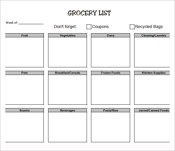 Doc.#431560: Printable Grocery List Template – Free Printable