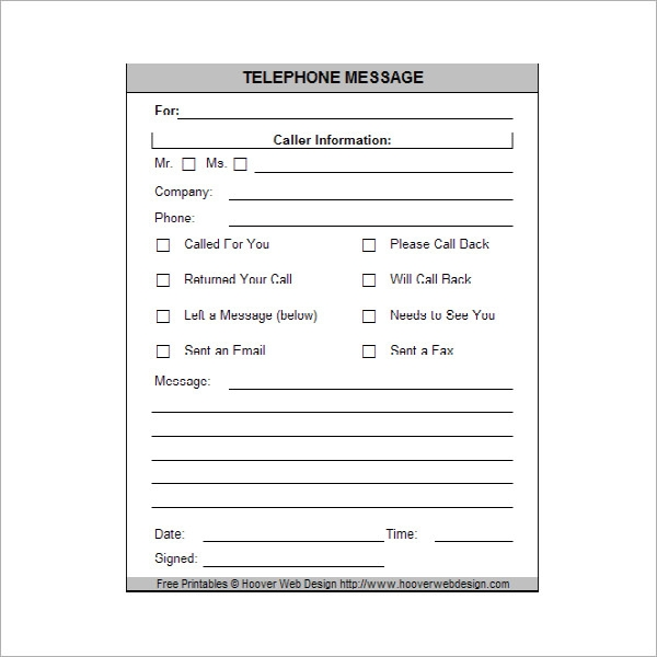 Free Printable Phone Message Template