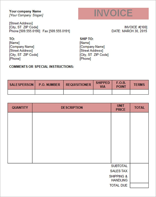 Blank Sales Invoice Invoice Word Template  Document Templates