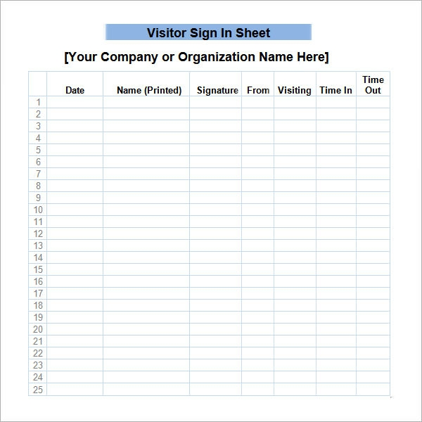 Superb Printable Visitor Sign In Sheet Template  Free Printable Sign In Sheet Template