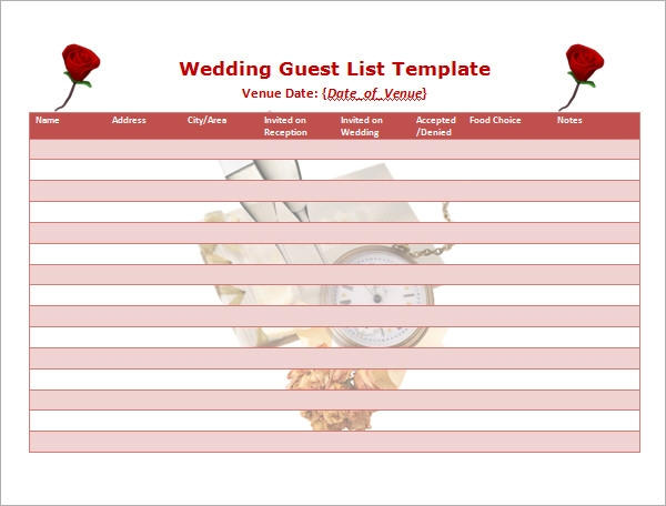 Printable Wedding Guest List Worksheet  Guest List Sample
