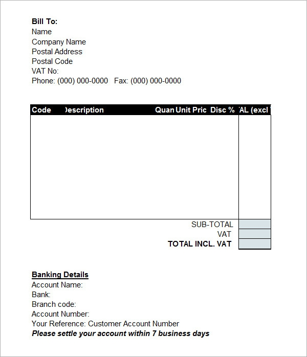 Draft Invoice Format Free Sample Example Format Download