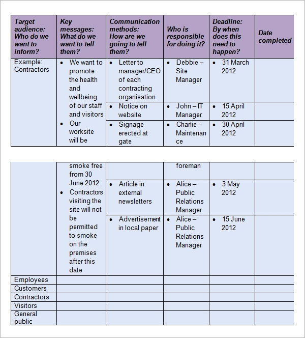 Good Project Communication Plan Template