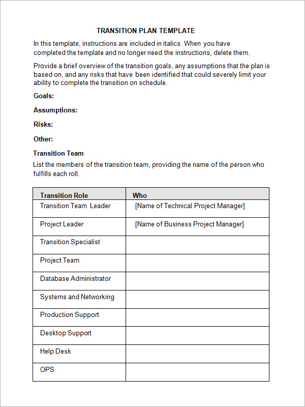 5 transition plan templates sample templates for Software project transition plan template