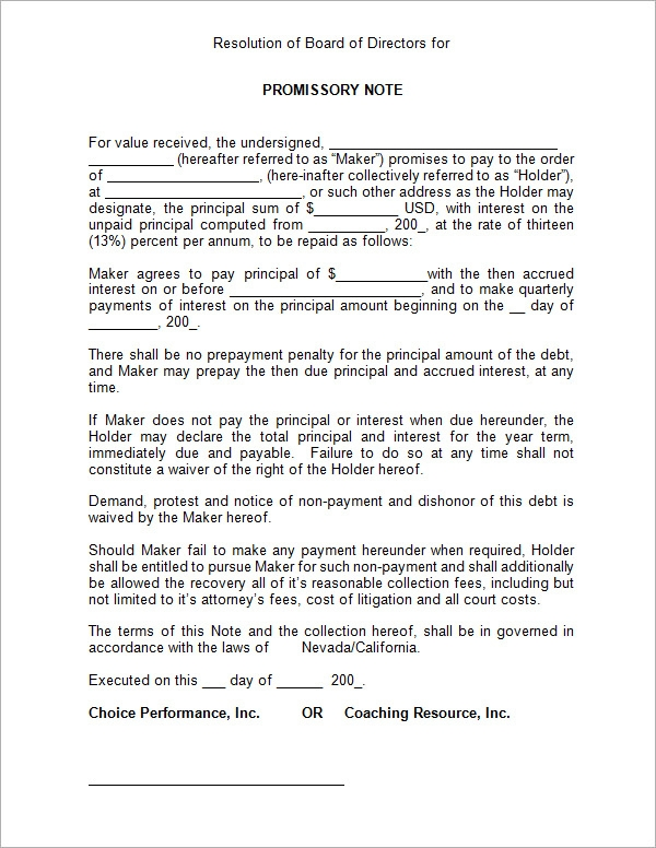 Free Blank Promissory Note Template - Corporate promissory note template