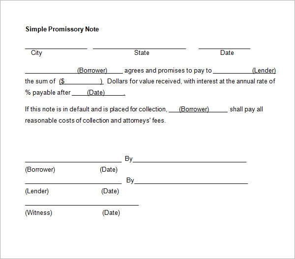 promissory note template word