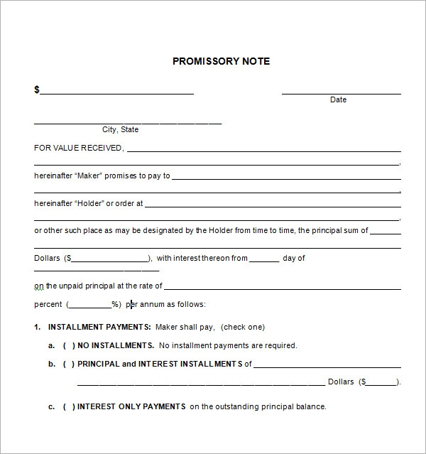 Promissory Note Form Pdf  Example Of Promissory Note