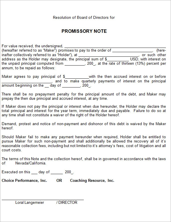 personal promissory note template .