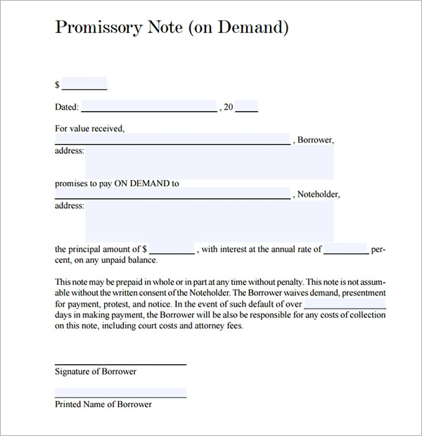 Free Demand Promissory Note Template - Promissory note template with collateral