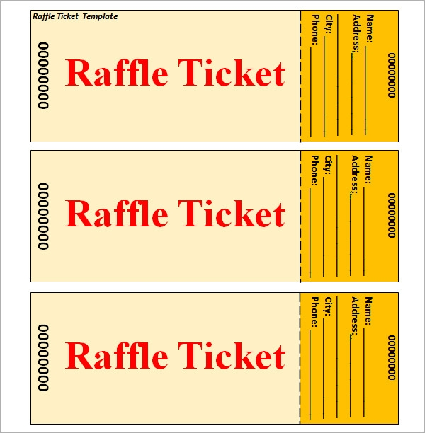 Raffle Ticket Templates | Sample Templates