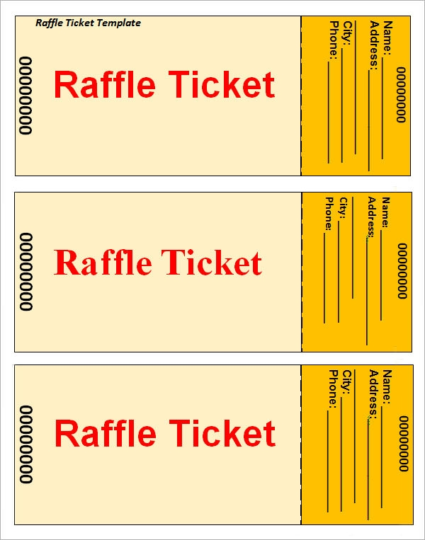 Sample Raffle Ticket Template 20 PDF PSD Illustration Word – Free Raffle Templates