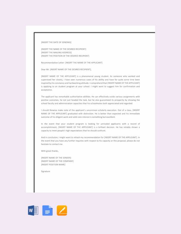recommendation letter template for student