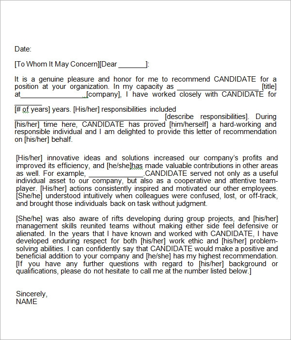 Letter Of Recommendation Sample Recommendation Letter For Employee ...