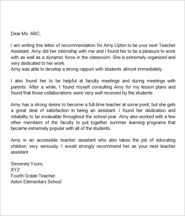 Pics Photos - Sample Letter Of Recommendation For Teacher From Parent
