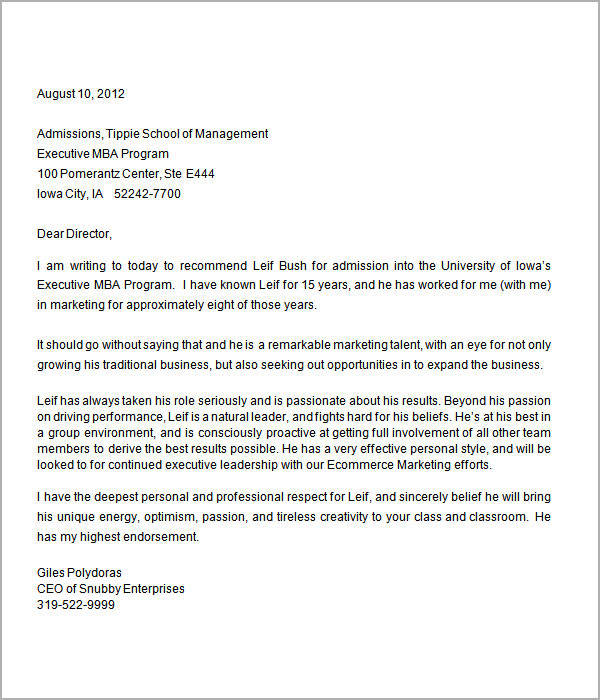 Letters Of Recommendation For Graduate School Sample