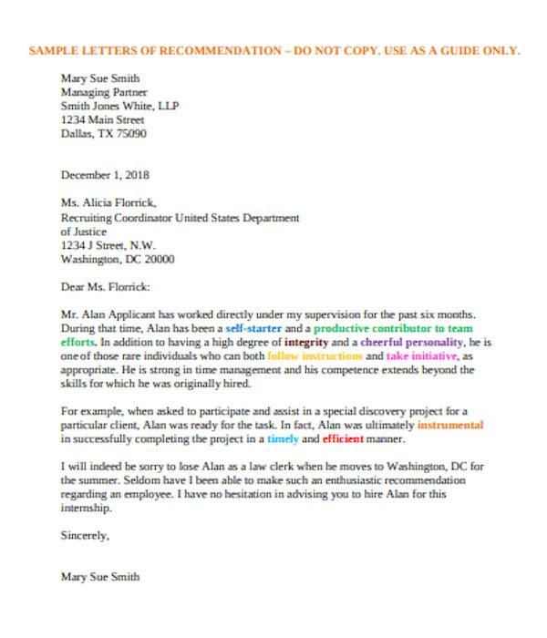 recommendation letters for employment sample