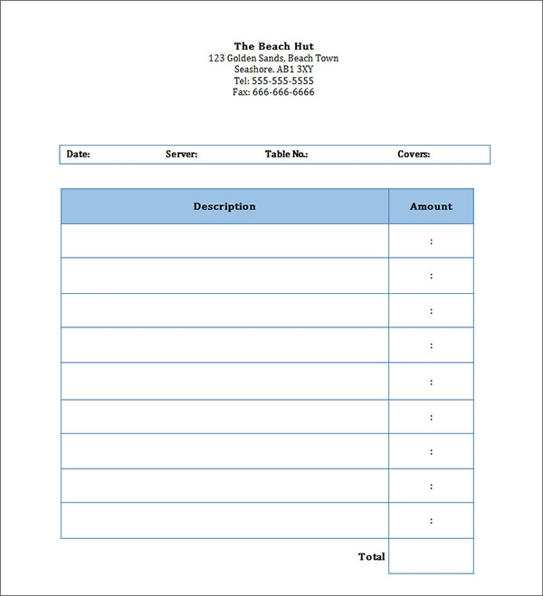 Blank Invoice Template 30 Documents in Word Excel PDF – Personal Receipt Template