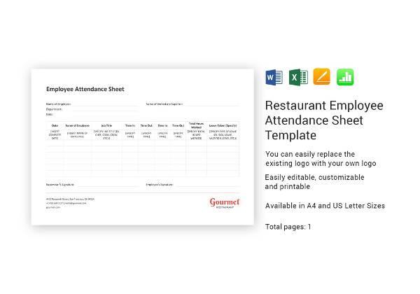 restaurant employee attendance sheet template