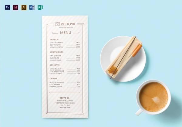 restaurant menu templat