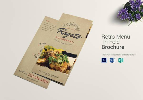 retro food menu trifold template