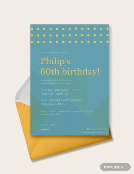 sample 60th birthday invitation card