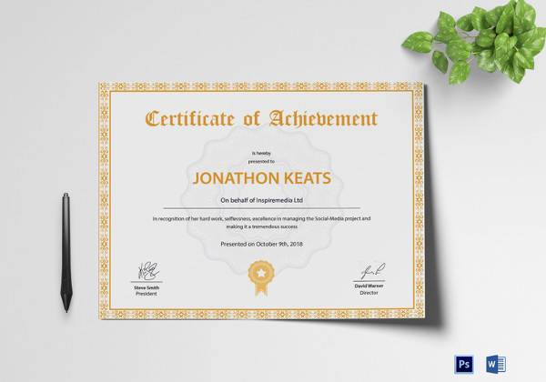 acheivement certificate templates