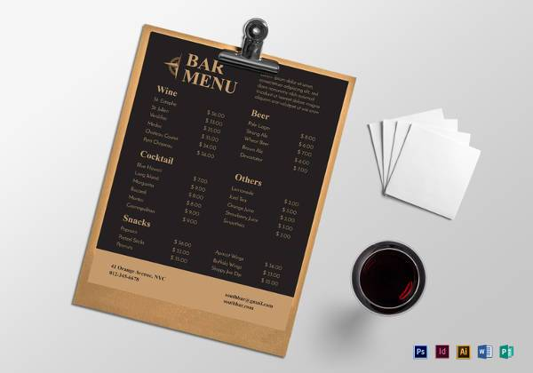 sample bar menu design template
