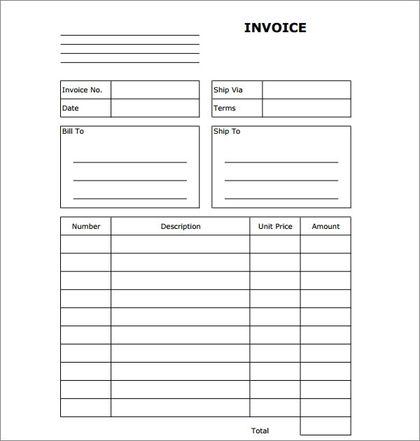 Sample Blank Invoice Templates Sample Templates - Fillable invoice template free for service business