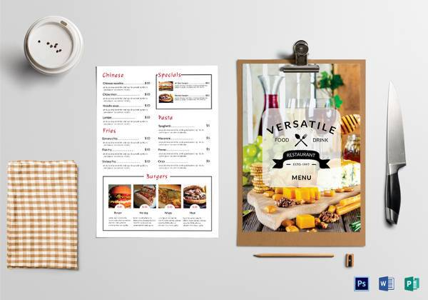 Printable Food Menu Template   Download In Pdf Psd Word Eps