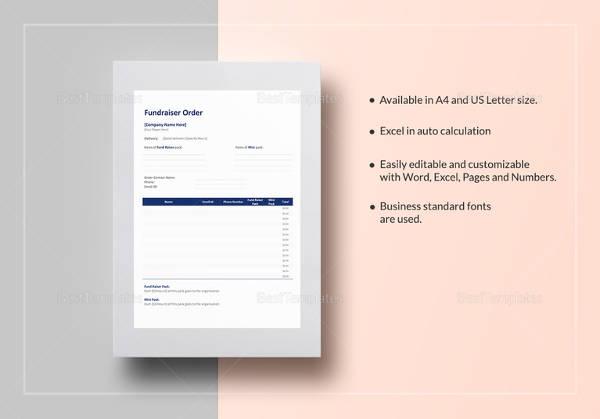 sample fundraiser order template