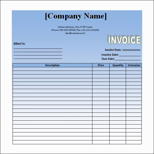 Example Of Invoice For Services Rendered  PrivatesoftwareInfo