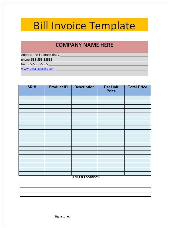 sample invoice for service
