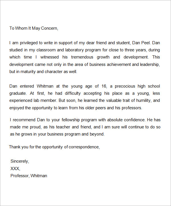 sample letter of recommendation letter for scholarship from professor