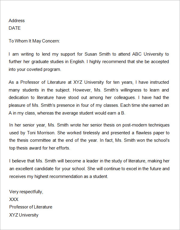What To Write In A Letter Of Recommendation For Graduate School - Grad school letter of recommendation template