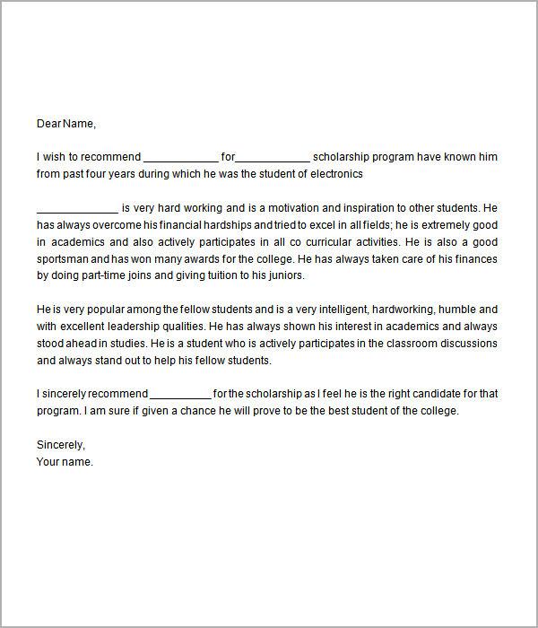 Scholarship Recommendation Letter D3sbTPcX
