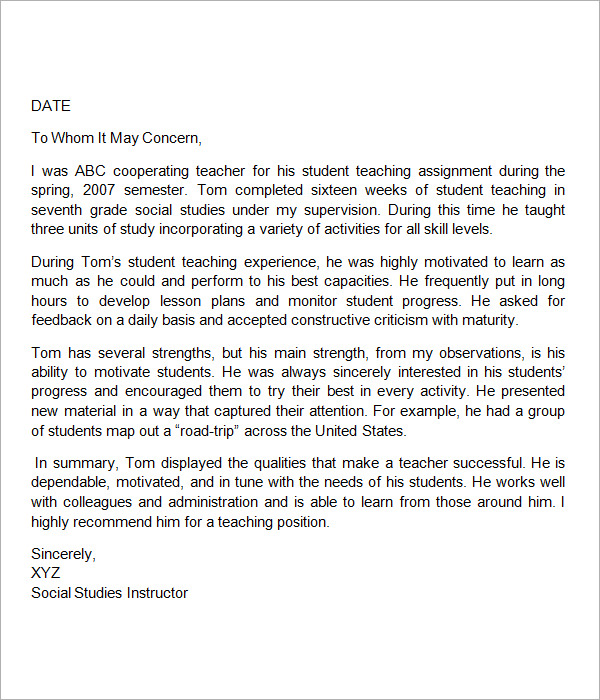 sample letter of recommendation for teacher