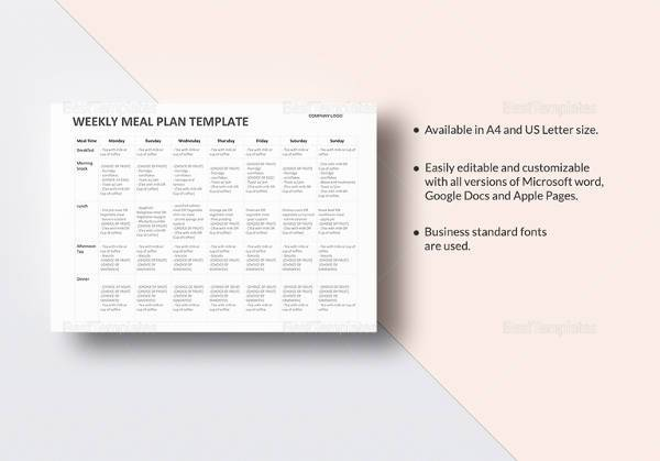 sample meal plan template in word format