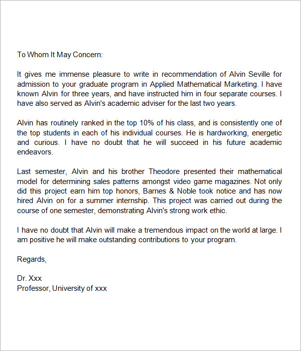 graduate application recommendation letter sample
