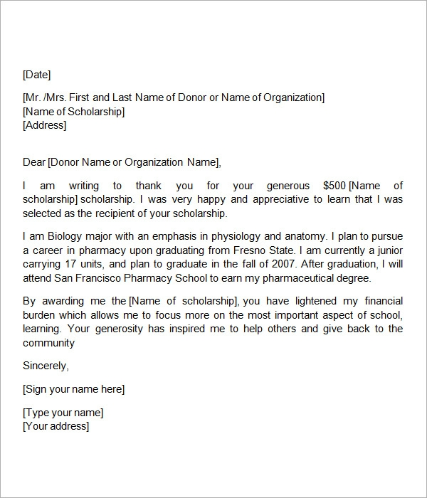 scholarship thank you letter sample templates typ86tbv