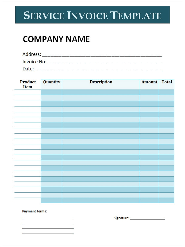 34 printable service invoice templates