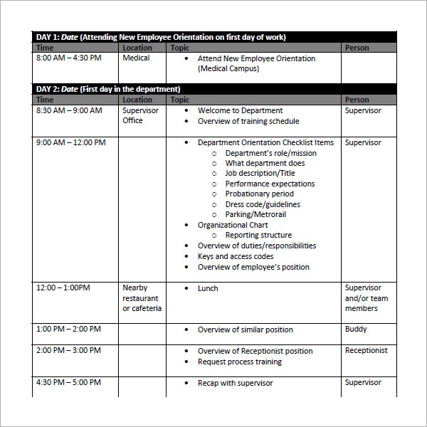 sample employee training schedule1