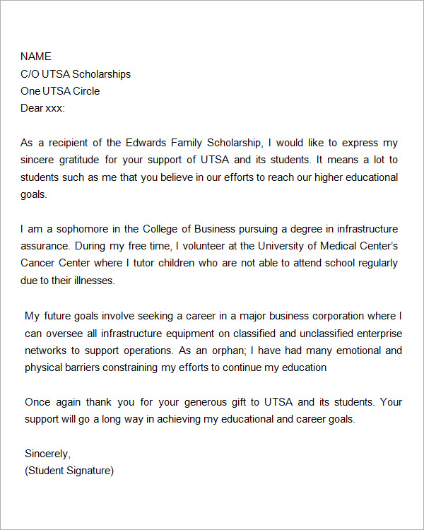 Scholarship Thank You Letter 11 Download Documents In