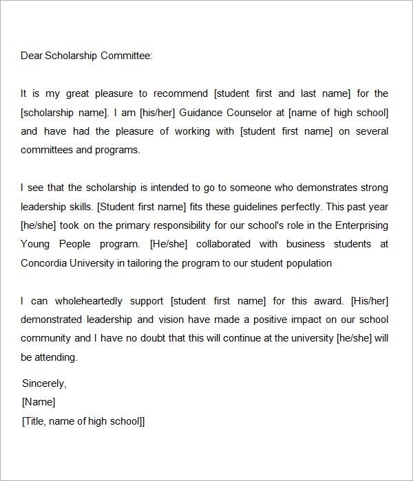scholarship recommendation letter from guidance counselor