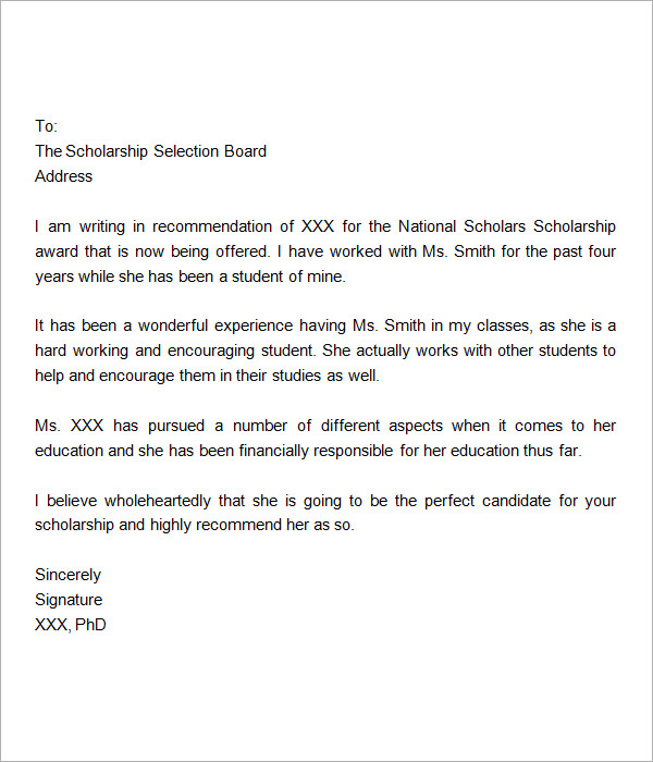 Sample Letter of Recommendation for Scholarship 15 Examples in – Formats for Letters of Recommendation