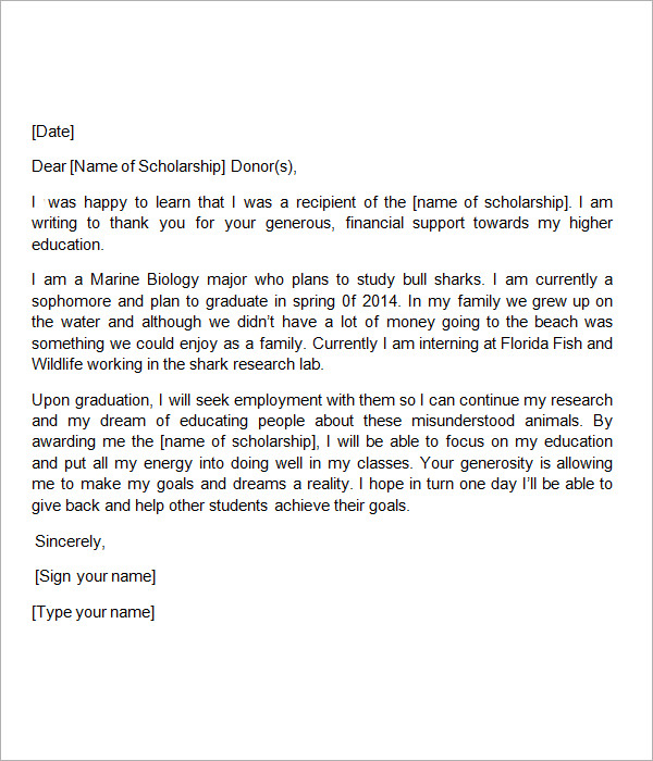 Scholarship Thank You Note. Letter Resume Cover Letter Thank You