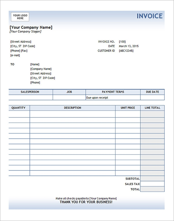 sample services invoice template excel